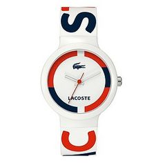 Lacoste Goa Navy Bezel Unisex Watch This Lacoste watch from the Goa range features a white plastic resin case and a rubber strap. The watch has a white dial and will come in an official Lacoste watch box with a 2 year warranty. Retro Watches, Red Logo, Watch Box, Watches Online, Digital Watch, New Baby Products, Bracelet Watch, Jewelry Watches, Clock