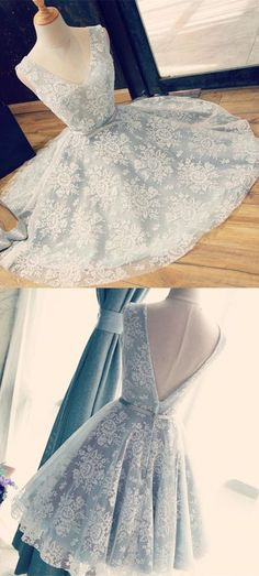 A-Line V-Neck Above-Knee Backless Light Blue Lace Homecoming Dress with Belt,421