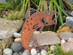 Trout Jumping Fish Metal Art Father's Day Outdoor Fish Pond Garden Art Gift Sports Fishing