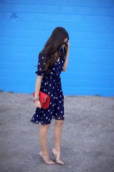 Looking Stylish With Business Meeting Outfit : Ideas Dot Dress, Dress Me Up, Navy Dress, Shirt Dress, Dress Red, Work Fashion, Modest Fashion, Fashion Spring, Dress Fashion