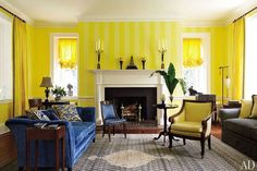 Although lemon-yellow doesn't promote relaxation, we'll bet lively conversation dominates in this living room.