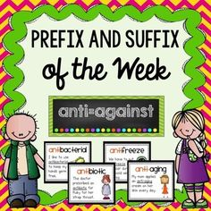 Make learning about prefixes and suffixes part of your daily instruction!Improve your students' vocabulary with this Prefix and Suffix of the Week product! ************************************************************************************** This product teaches students the meaning of 35 of the most common prefixes and suffixes and has many examples of words the include the prefixes and suffixes.