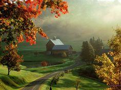 Sleepy Hollow Farm, Woodstock, Vermont, New England region of the northeastern United States shared via FB by Wonderful Places Beautiful Farm, Beautiful World, Beautiful Places, Beautiful Pictures, Beautiful Scenery, Beautiful Morning, Wonderful Places, Natural Scenery, House Beautiful