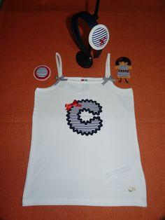 Conjunto de Camiseta inicial C, broches y diadema