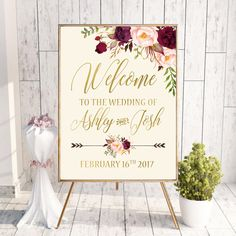 REPIN NOW for later! Welcome Wedding Sign Printable Wedding Welcome by DigartDesigns