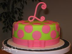 """Birthday girl requested pink, green and a """"curly L"""" for a topper for her cake, so that's exactly what she got! Description from cakesbybecky.blogspot.com. I searched for this on bing.com/images"""