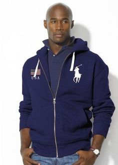 Ralph Lauren Full-Zip American Flag Hoodie In Dark Red/Black