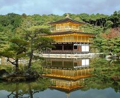 Kinkakuji Golden Temple a favorite of tour guides and tourists alike is covered with gold leaf