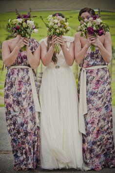 5c85d134ea9d Floral print bridesmaids Printed Wedding Dress, Printed Bridesmaid Dresses,  Rainbow Wedding, Purple Wedding