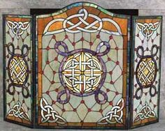 Celtic Fireplace Screen, Shamrock - Stained Glass