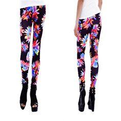 Women Sunflower Print Ankle Length Tights Leggings