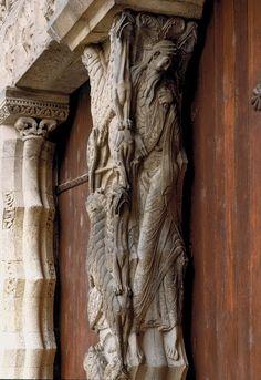 Prophet Jeremiah (or Isaiah), trumeau sculpture, Abbey Church of St. Pierre