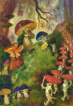 The procession of the jold. Fairy Land, Fairy Tales, Mushroom Art, Flower Fairies, Magical Creatures, Children's Book Illustration, Faeries, Fantasy Art, Cool Art