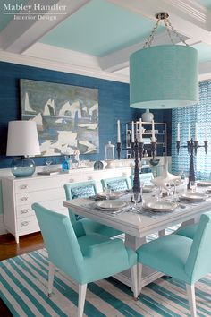 Blue Grasscloth walls, turquoise ceiling Mabley Handler Interior Design - Beach House Dining Room at the 2012 Hampton Designer Showhouse