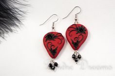 Goth Heart Black and Red Drop Earrings by ~DeidreDreams on deviantART