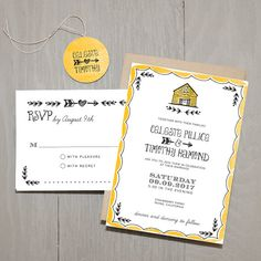 Barn Wedding Invitation by Smitten on Paper (via The Marketplace at…