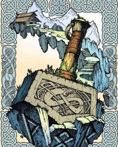 Mjollnir Hammer of Thor North Mythology, Norse Mythology Tattoo, Norse Tattoo, Viking Tattoos, Rune Viking, Viking Symbols, Viking Art, Thors Hammer, Thor Hammer Tattoo