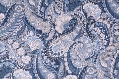 """Robert Allen Zen Paisley Printed Cotton Drapery Fabric in Indigo.      Fiber Content: Cotton    Width: 57"""" (inches)    Pattern Repeat in Inches: 25x27    Note: The price is p..."""
