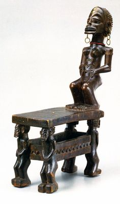 Africa   Chair from the Chokwe people of Angola   Wood, copper, brass, glass beads and pigment Arte Tribal, Tribal Art, African Masks, African Art, African Furniture, African House, Statues, African Sculptures, Congo
