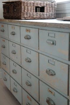 Oh, the organization possibilities of (a less rustic version of) this.  All of those lovely drawers.