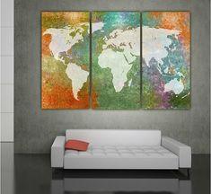 Huge World Map Multi Color 3 Panel Canvas Art by GoldenStateCanvas
