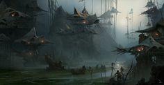 swamp village by Martin Deschambault   Fantasy   2D   CGSociety