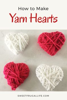 Easy Yarn Heart Tutorial.  This is a fun valentines craft for the kids to do.