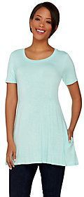 As Is LOGO by Lori Goldstein Petite Scoop Neck Knit Top with Pockets