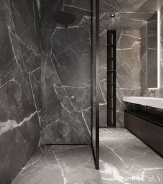 don't know if you have noticed that steel is more and more popular in design industry.I don't know if you have noticed that steel is more and more popular in design industry. Bathroom Design Luxury, Modern Bathroom Decor, Small Bathroom, Master Bathroom, Bathrooms, Zen Bathroom, Home Room Design, Interior Design Studio, Grey Marble Bathroom