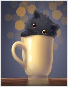 Diamond Painting Fluffy Black Kitten in a Cup Kit I Love Cats, Crazy Cats, Gato Gif, Art Mignon, Black Cat Art, Black Cats, Photo Chat, Here Kitty Kitty, Sleepy Kitty