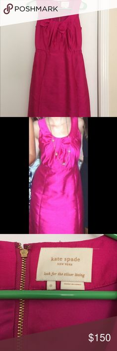 Kate Spade magenta cocktail dress Kate Spade silk dupioni cocktail dress with bow detail in front. Magenta colored with gold details.  In great condition, worn two or three times. kate spade Dresses