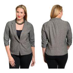 Stanzino Women's 3/4 Sleeve Plus Size Single Button Denim Blazer at Sears.com