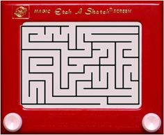 """Etch A Sketch Maze!  Bring your favorite childhood game back into the classroom.  Choose a maze design from the internet or create your own and size it to your Etch a Sketch screen.  Print your maze onto a transparency and tape over the front of an Etch a Sketch.  Your students will have fun trying to take the """"curser"""" through the maze.  Add a level of difficulty by using circular mazes! Promotes hand/eye coordination and the games can be found for pennies at local yard sales!"""