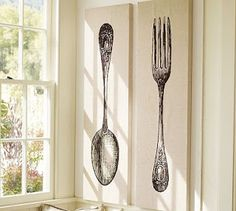 Shop fork and spoon from Pottery Barn. Our furniture, home decor and accessories collections feature fork and spoon in quality materials and classic styles. Room Wall Decor, French Country Decorating, Spoon, Kitchen Art, Forks And Spoons, Pottery Barn, Kitchen Wall Art, Diy Pottery, Kitchen Forks