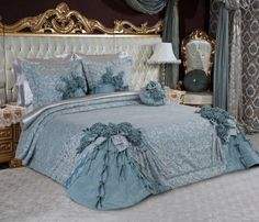 linda colcha azul