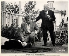 Suzanne Pleshette, Rod Taylor and Alfred Hitchcock on set of The Birds