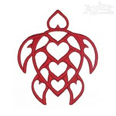 Heart Sea Turtle Embroidery Design