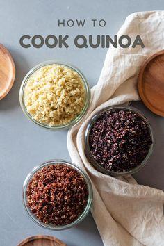 How To Cook Quinoa - The Fail-Proof Way - Food! - How To Cook Quinoa – The Fail-Proof Way How to cook fluffy quinoa. The two fail-proof methods. White quinoa, red quinoa, and black quinoa, plus 5 healthy quinoa recipes. Mexican Food Recipes, Vegetarian Recipes, Healthy Recipes, Salad Recipes, Diabetic Recipes, Healthy Foods, Keto Recipes, Quinoa Recipes For Kids, Healthy Cooking