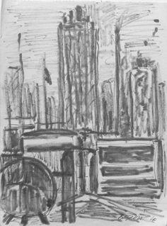 E. Besozzi pitt. 1954 Fabbrica pennarello e biro su carta cm. 16,1x12 arc. 1221