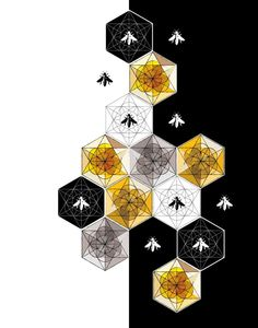 Save The Bees Art Print by LuckySkye on Etsy Geometric Patterns, Honey Logo, Bee Painting, Honey Packaging, I Love Bees, Architecture Logo, Bee Tattoo, Bee Art, Save The Bees