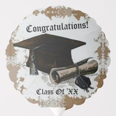 Shop Graduation Cap & Diploma Gold Balloon created by BlueRose_Design. Custom Balloons, Gold Balloons, Helium Gas, Party Napkins, School Colors, Purple Yellow, Colorful Backgrounds, I Shop, Congratulations