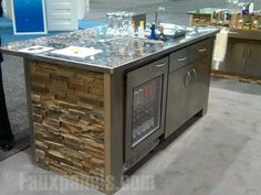 Home bar design plans that incorporate faux stone bring together a functional, modern bar. Home Bar Plans, Faux Panels, Beige Cabinets, Brick And Wood, Modern Bar, Kitchen Pictures, Picture Design, Bars For Home, Faux Stone