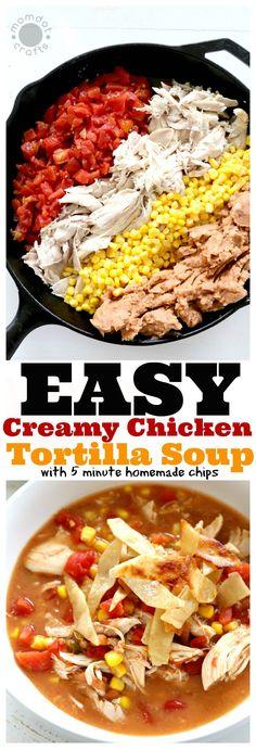 Easy Creamy Chicken Tortilla Soup recipe with homemade crunchy tortilla toppings