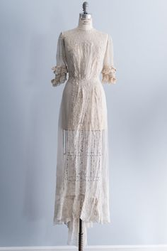 NEW LISTING Cream Edwardian Dotted Lace with by ShopGossamer, $418.00