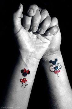 Magical Disney Tattoo Ideas & Inspiration - Brighter Craft - - 100 magical Disney tattoo ideas for every Disney fanatic. Tattoos last forever, but so does the love for Disney. Movies, charcters, quotes, discover here. Mickey Tattoo, Mickey Mouse Tattoos, Tattoo Disney, Disney Quote Tattoos, Mickey Mouse Drawings, Literary Tattoos, Disney Couple Tattoos, Cute Couple Tattoos, Disney Sister Tattoos