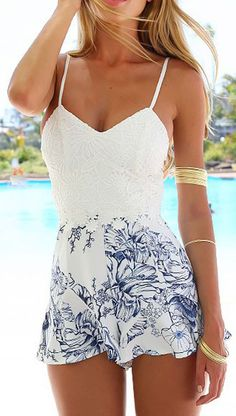 White Floral Print Crochet Lace Cami Romper Playsuit