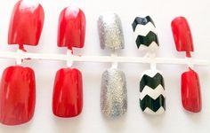 Fake nails chevron acrylic nails glitter false by LetThemSparkle