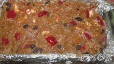 Amish No Bake Fruitcake.  1 box graham crackers, crushed to crumbs 1 C. chopped pecans 1 jar maraschino cherries drained 1C. raisins 1 C. packed shredded coconut 1 1/2 C. miniature marshmallows 1 can sweetened condensed milk Mix all in large bowl through until all crumbs are coated. Press into foil lined loaf pan that has been sprayed with Pam. Chill 4 to six hours then slice. Very moist & chewy.