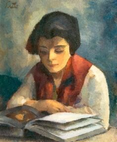 books0977: Girl reading (1927). Francisc Şirato (Romanian, 1877-1953). Oil on cardboard. National Museum of Art of Romania, Bucharest. Şirato is skillful in the use of colours. His painting is lyrical, full of affectiveness. He has a warm, affectivate way of approaching the world. His work is varied, complex, and impressive in its emotional intensity.