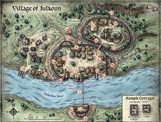 Village-of-Julkoun-Delimbiyr-River-Map-Classic-Vintage-Retro-Kraft-Decorative-Poster-Maps-Home-Bar-Posters.jpg 1000×760 pixels